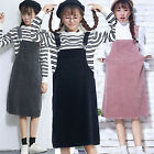 Autumn Women Girls Casual Corduroy Strap Dungaree Dress Overalls Straight Skirts