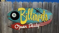Billiards Mid-Century Retro Painted Flat Metal Sign FREE SHIPPING