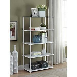 No Tools 5 Shelf Standard Open Storage Bookshelf Compact Display Rack White