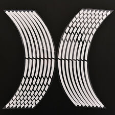16 Pcs / Set White Car Wheel Stickers Reflective Rim Stripe Tape Bike Moto 3C