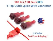 100pc Insulated 22 18 Awg T Taps Quick Splice Wire Terminal Connectors Kit Red