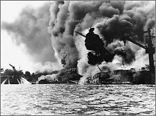 Photo Rare Look: USS Arizona Sunk & Burning, Pearl harbor, Dec 7th, 1941, View 2