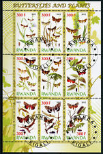 Rwanda 2012 CTO Butterflies & Plants 9v M/S Caterpillars Insects Nature Stamps