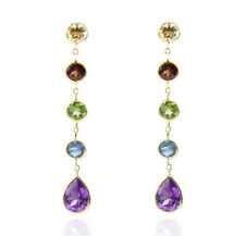 14K Yellow Gold Station Stud Earrings With Dangling Colorful Genuine Gemstones