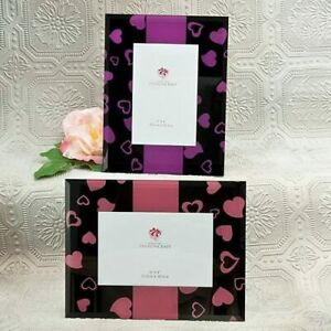 """ONE NEW 6"""" x 4"""" Photo FASHIONCRAFT Glass Heart Designed Picture Frame Pink Black"""