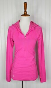 ATHLETA Women's Seamless Half Zip Hooded Athletic Top Size Small Hot Pink