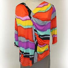 NEW NWT Caribe Plus Size Faux Wrap Top Multi-Color Asymmetric Blouse 3X USA Made