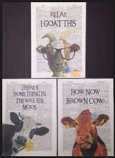 3 X Cow Goat Prints Vintage Dictionary Page Wall Art Picture Funny Animal Quotes