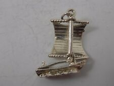 TRADITIONAL STERLING SILVER BOAT CHARM   VINTAGE SILVER CHARM