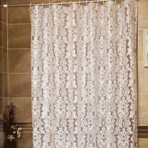 PEVA Waterproof Floral Morocco Bathing Shower Curtain Bathroom Drape Hooks Set