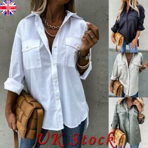 Womens Baggy Shirt Button Up Long Sleeve Ladies Casual Loose Office Work Tops UK