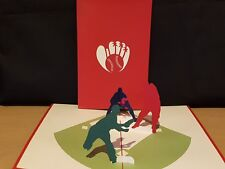 Cricket Game in 3D Pop Up Card. All Occassion