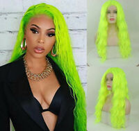 24 inches Long Wave  Fluorescent Green Lace Front Wig+Cap Halloween Cosplay wig