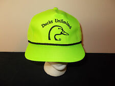 VTG-1980s Ducks Unlimited green neon nylon hunting rope style snapback hat sku4
