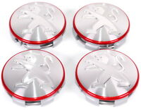 Peugeot LIGNE S Red Circle Alloy Wheel Centre Cap Set 4 New Genuine 1608265280