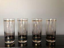 New listing Set of 4 Vintage Culver Devon Highball Glasses 22kt Gold Vertical Pinstripes