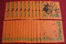 Nice Vintage Group of Halloween Napkins with Witch, Cauldron, Bats, Moon, +