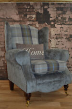 Wing Back Queen Anne  Chair Blue Tartan Seating Area & Contrasting Grey Fabric