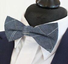 Bow Tie. Dark Denim Blue trace stripe. Cotton . Premium Quality. Pre-Tied. BV65