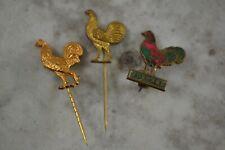 More details for vintage take courage cockerel lapel pins stick pin enamel breweriana x 3 lot