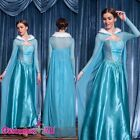 Adult Womens Frozen Snow Queen Elsa Costume Cosplay Party Gown Lady Fancy Dress