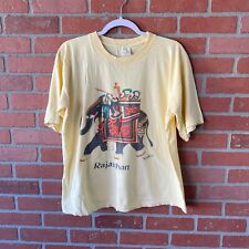 R.T.S Exports T-Shirt Men's Size L Yellow Rajasthan India Elephant Vtg 1990's