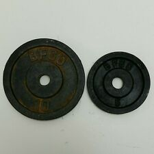One 10 Pound, One 5 Pound BFCO Black Cast Iron Weight Plates. 15 Pounds Total.