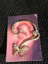 EAR CUFF, pierced for left ear, gold with rhinestones and butterfly