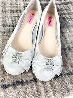 Betsy Johnson Womens Ballet Flats EMY Silver Rhinestone Bride Size 9B Bow