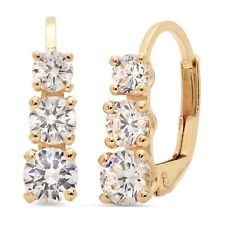 2.5 ct 3-Stone Round Drop Dangle Leverback Earrings Solid 14k Yellow Gold
