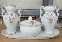 Vintage Porcelain 5 Piece Vanity Dresser Set Lidded Trinket Dish Vase Tray Roses