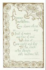 Vintage Postcard Dinner Invitation Art Nouveau Poem Gold Gilt Old
