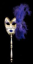 Masque de Venise à Baton Plumes autruche Violet-Carnaval venitien-2228 TG5