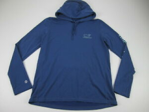 Womens Large Vineyard Vines Whale Tail Performance Hoodie blue pullover