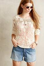 NEW Anthropologie  size L Cotton Crocheted Sweater by Angels of the North