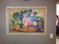 """Rare! by  Rakita Still Life on Canvas 29.5"""" x 41"""" framed Original Oil Painting"""