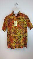 NEW Island Republic Men's Hawaiian M Shirt Orange Tropical Leaf 100% Cotton