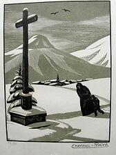 POIRIER Emmanuel. Le calvaire. Gravure sur  bois originale. 1929