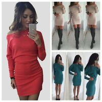 Sexy Women's Long Sleeve Slim Off Shoulder Bodycon Cocktail Party Mini Dress