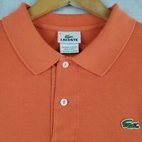 LACOSTE Size 6 Large Mens Polo Shirt Burnt Orange 100% Pique Cotton Golf Texas