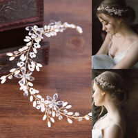 Women Girl Bride Wedding Crystal Rhinestone Pearl Hair Band Flower Headband US