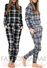 Womens Woven Knit Checked Print Lounge Suit TwinSet Co-Ord Xmas Gift Loungewear