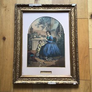 Antique 19th Century German Lithograph Print The Childs Play Eduard Gustav May