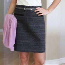 Theory Francia Dialogue Wool Metallic Pencil Skirt Leather Trim Gray Size 2