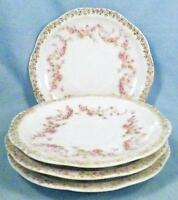 4 Orleans Saucers Only Z S & Co Bavaria Pink Roses Gold Flowers Porcelain ZSC32