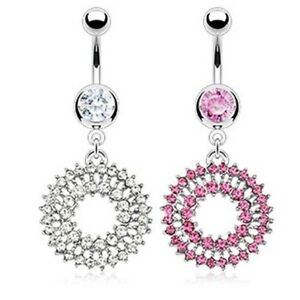 GEM PAVED BURST DOUBLE LOOPS BELLY NAVEL RING FANCY DANGLE BUTTON PIERCING B255