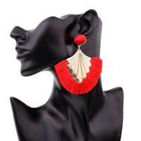 Women Fan Shape Alloy Bohemian Long Tassel Dangle Fringe Drop Stud Earrings Gift