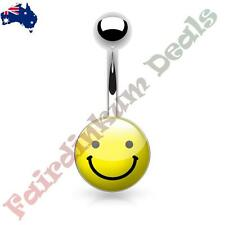 316L Surgical Steel Belly Ring with Smiley Face Logo