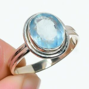 Aquamarine Handmade 925 Solid Sterling Silver Jewelry Ring Size 9.5