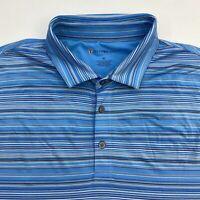Oxford Golf Miravista Polo Shirt Men's XL Short Sleeve Blue Striped Poly Blend